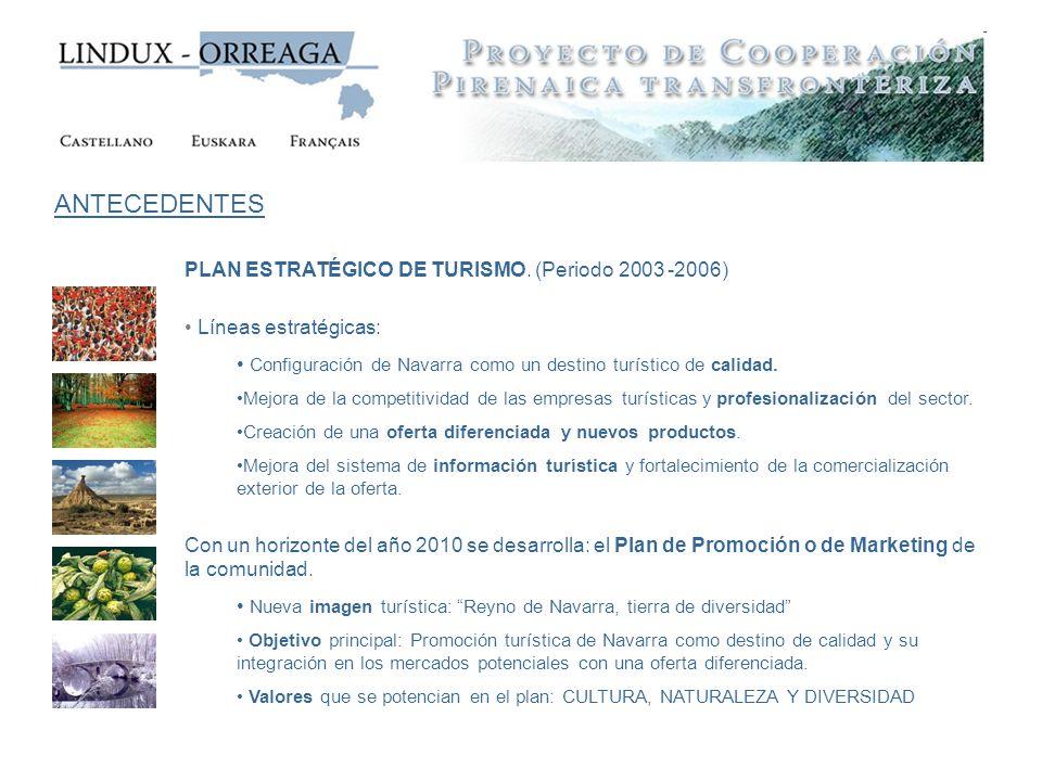 PLAN ESTRATÉGICO DE TURISMO. (Periodo 2003 -2006) Líneas estratégicas: Configuración de Navarra como un destino turístico de calidad. Mejora de la com