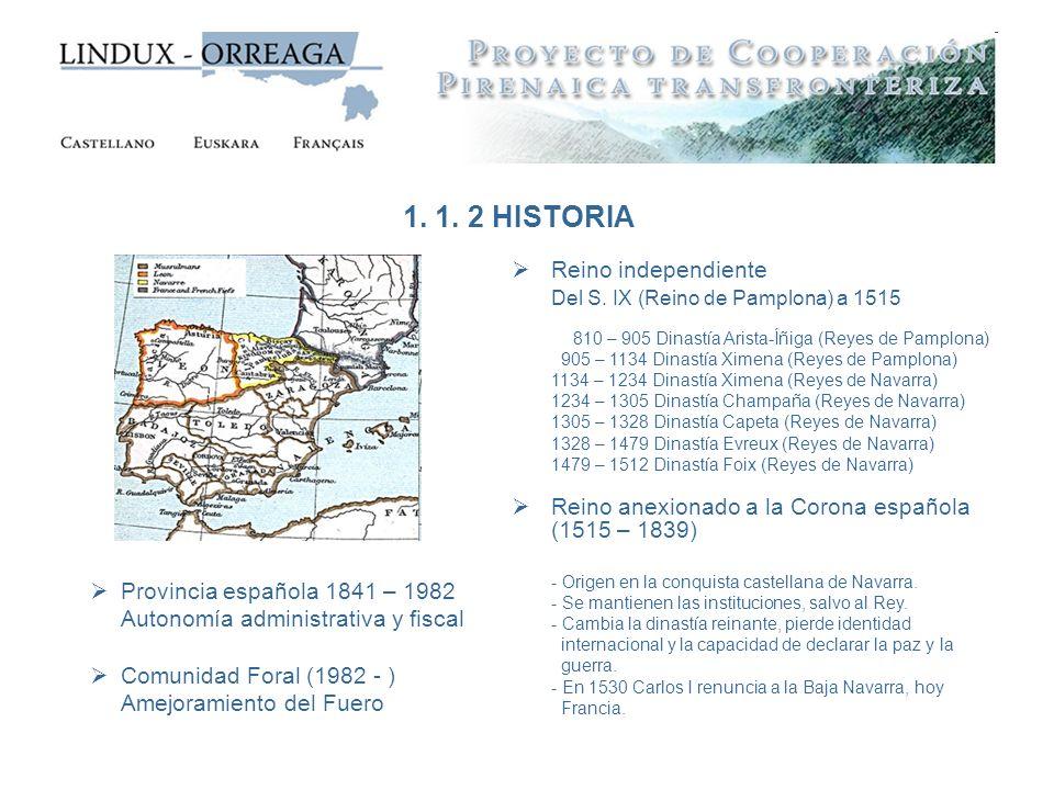 Reino independiente Del S. IX (Reino de Pamplona) a 1515 810 – 905 Dinastía Arista-Íñiga (Reyes de Pamplona) 905 – 1134 Dinastía Ximena (Reyes de Pamp