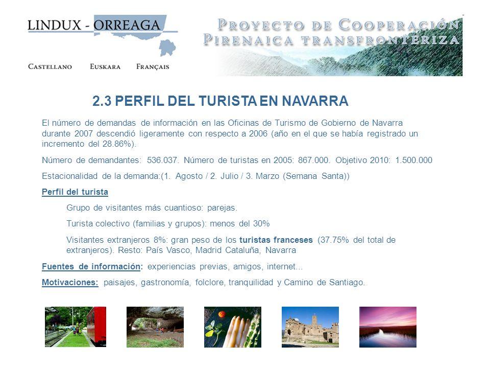 2.3 PERFIL DEL TURISTA EN NAVARRA El número de demandas de información en las Oficinas de Turismo de Gobierno de Navarra durante 2007 descendió ligera