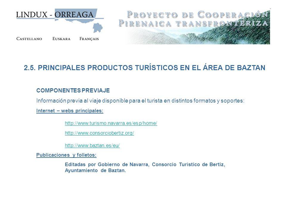 2.5. PRINCIPALES PRODUCTOS TURÍSTICOS EN EL ÁREA DE BAZTAN COMPONENTES PREVIAJE Información previa al viaje disponible para el turista en distintos fo