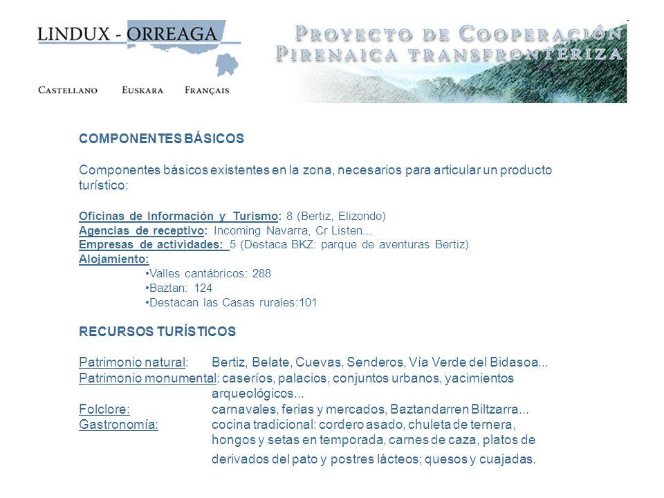 COMPONENTES BÁSICOS Componentes básicos existentes en la zona, necesarios para articular un producto turístico: Oficinas de Información y Turismo: 8 (