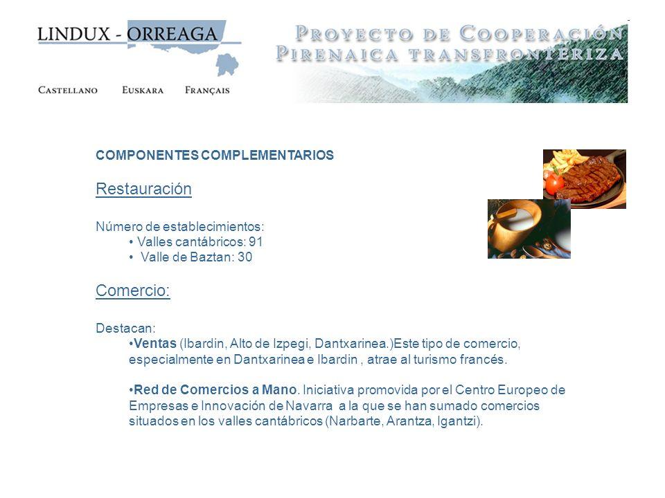 COMPONENTES COMPLEMENTARIOS Restauración Número de establecimientos: Valles cantábricos: 91 Valle de Baztan: 30 Comercio: Destacan: Ventas (Ibardin, A