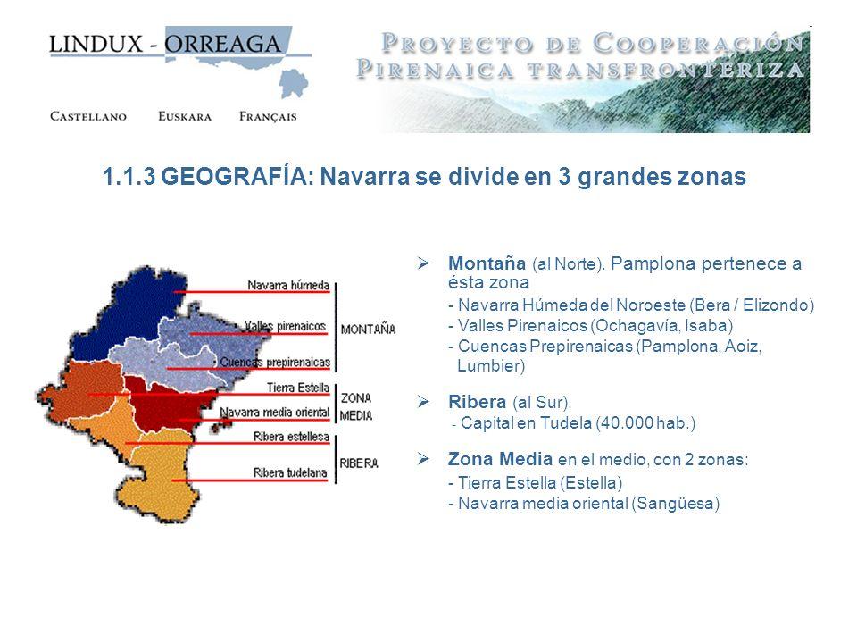 Montaña (al Norte). Pamplona pertenece a ésta zona - Navarra Húmeda del Noroeste (Bera / Elizondo) - Valles Pirenaicos (Ochagavía, Isaba) - Cuencas Pr
