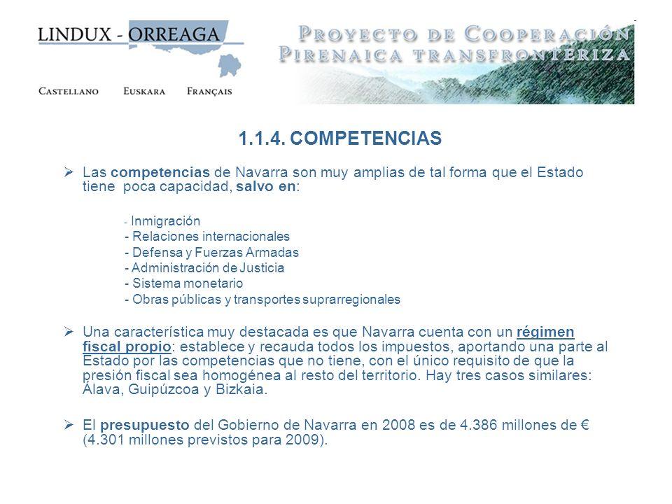 Las competencias de Navarra son muy amplias de tal forma que el Estado tiene poca capacidad, salvo en: - Inmigración - Relaciones internacionales - De