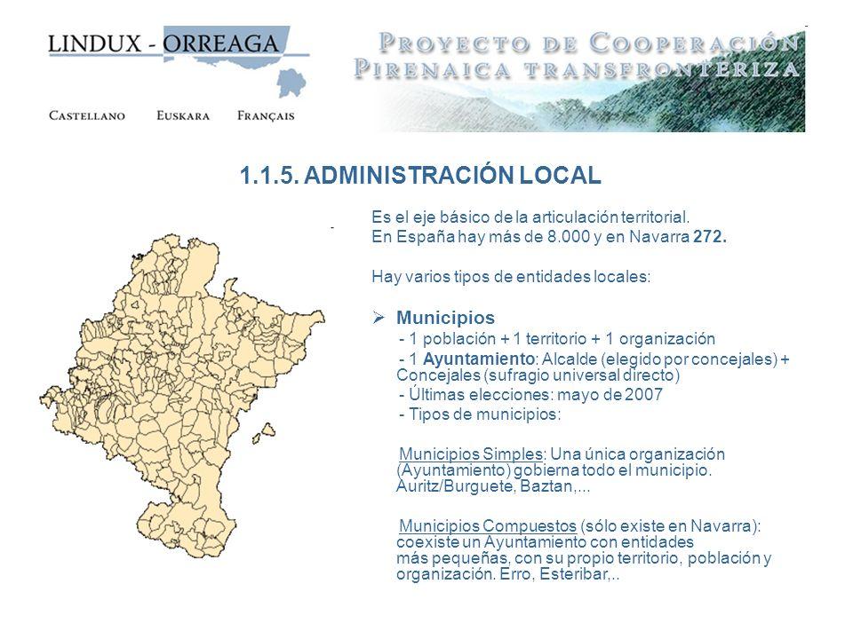 Es el eje básico de la articulación territorial. En España hay más de 8.000 y en Navarra 272. Hay varios tipos de entidades locales: Municipios - 1 po