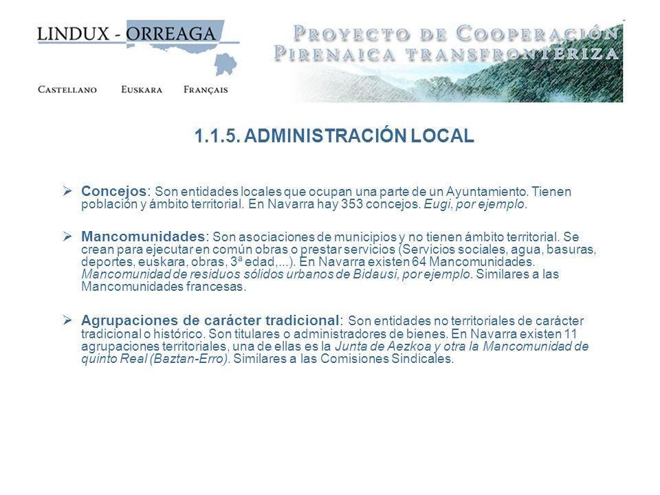 Concejos: Son entidades locales que ocupan una parte de un Ayuntamiento. Tienen población y ámbito territorial. En Navarra hay 353 concejos. Eugi, por