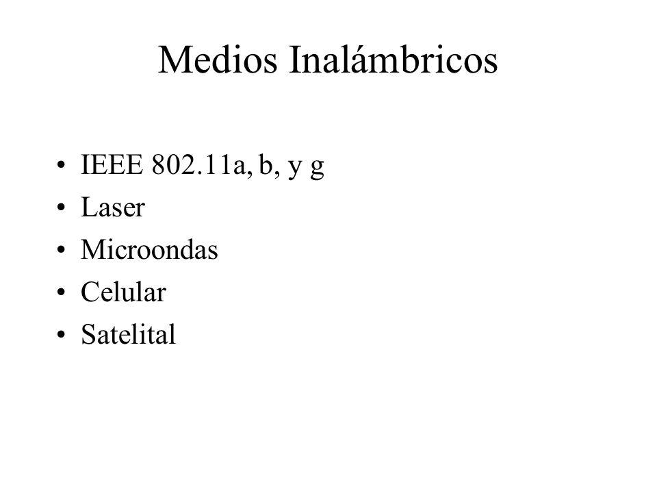 Medios Inalámbricos IEEE 802.11a, b, y g Laser Microondas Celular Satelital