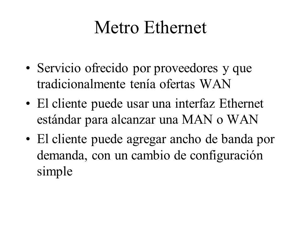 Metro Ethernet Servicio ofrecido por proveedores y que tradicionalmente tenía ofertas WAN El cliente puede usar una interfaz Ethernet estándar para alcanzar una MAN o WAN El cliente puede agregar ancho de banda por demanda, con un cambio de configuración simple