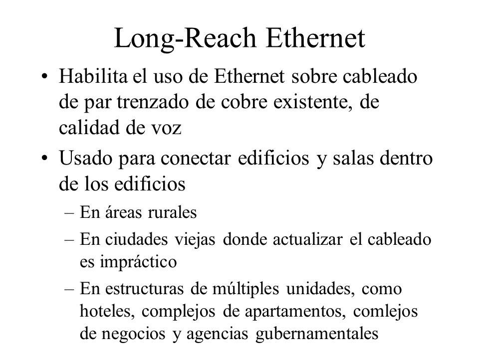 Long-Reach Ethernet Habilita el uso de Ethernet sobre cableado de par trenzado de cobre existente, de calidad de voz Usado para conectar edificios y salas dentro de los edificios –En áreas rurales –En ciudades viejas donde actualizar el cableado es impráctico –En estructuras de múltiples unidades, como hoteles, complejos de apartamentos, comlejos de negocios y agencias gubernamentales