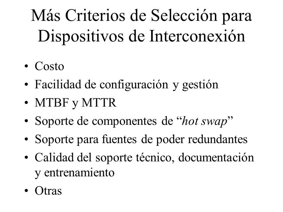 Más Criterios de Selección para Dispositivos de Interconexión Costo Facilidad de configuración y gestión MTBF y MTTR Soporte de componentes de hot swap Soporte para fuentes de poder redundantes Calidad del soporte técnico, documentación y entrenamiento Otras