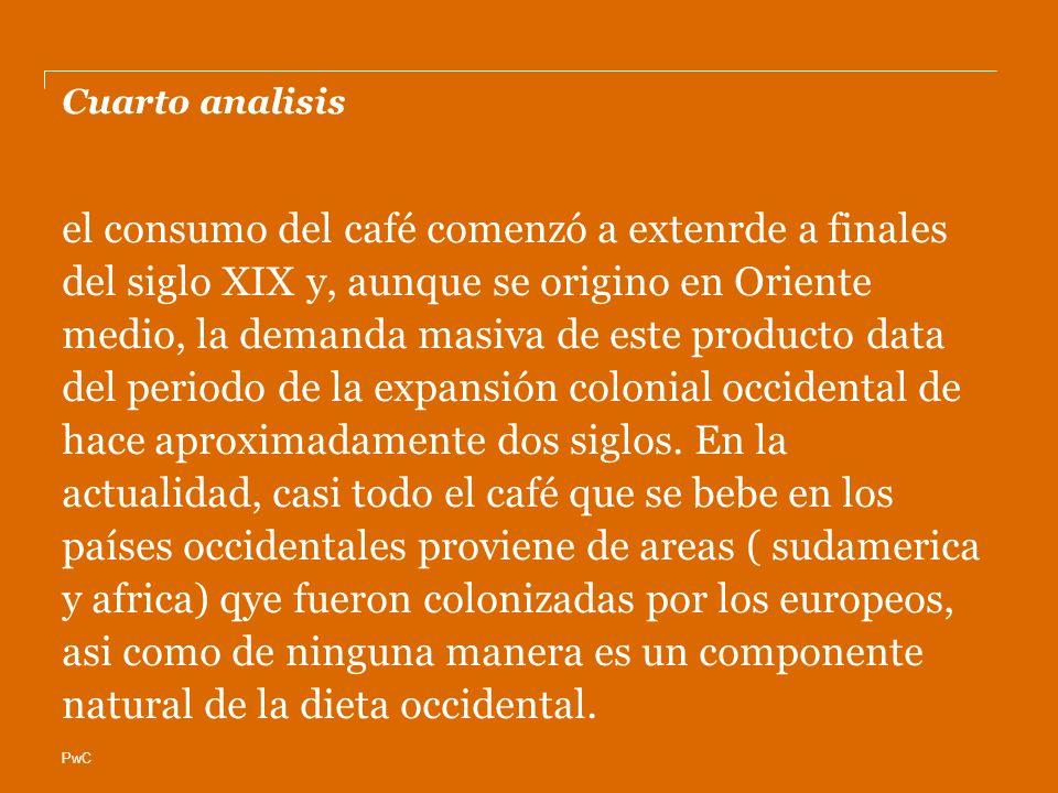 PwC Cuarto analisis el consumo del café comenzó a extenrde a finales del siglo XIX y, aunque se origino en Oriente medio, la demanda masiva de este producto data del periodo de la expansión colonial occidental de hace aproximadamente dos siglos.