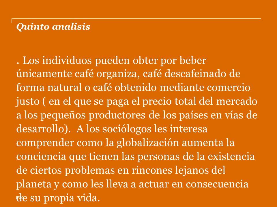 PwC Quinto analisis. Los individuos pueden obter por beber únicamente café organiza, café descafeinado de forma natural o café obtenido mediante comer