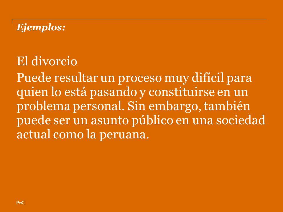 PwC Ejemplos: El divorcio Puede resultar un proceso muy difícil para quien lo está pasando y constituirse en un problema personal.