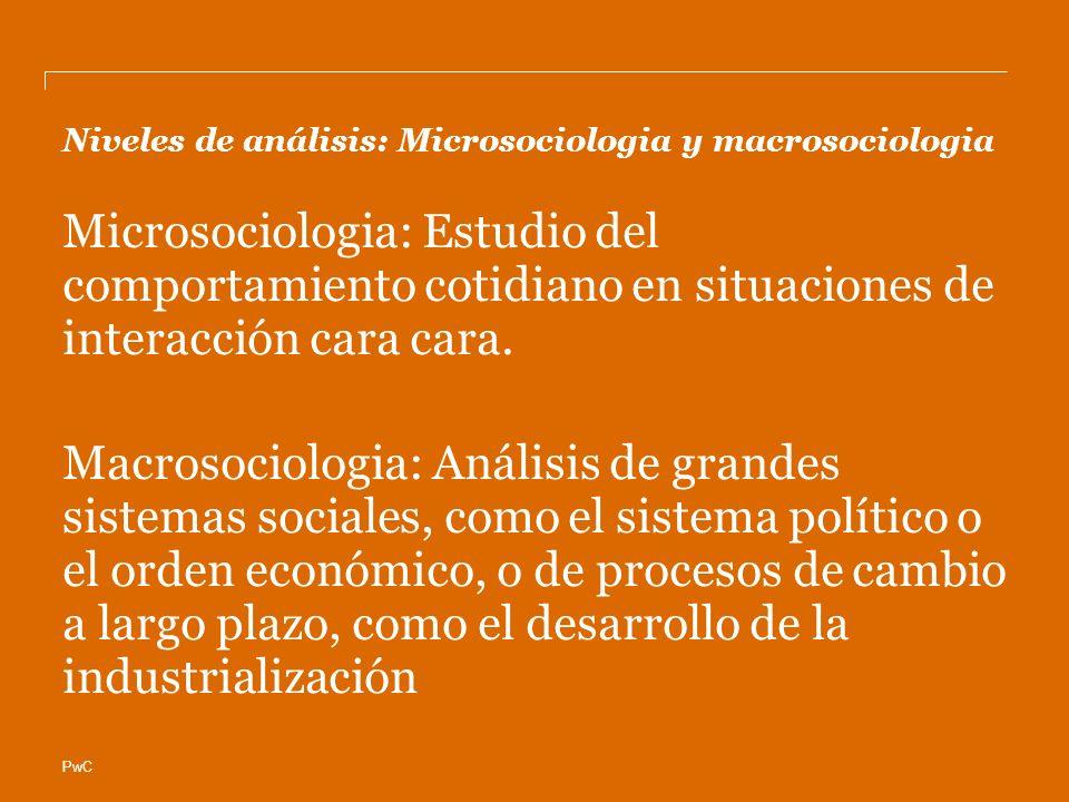 PwC Niveles de análisis: Microsociologia y macrosociologia Microsociologia: Estudio del comportamiento cotidiano en situaciones de interacción cara cara.