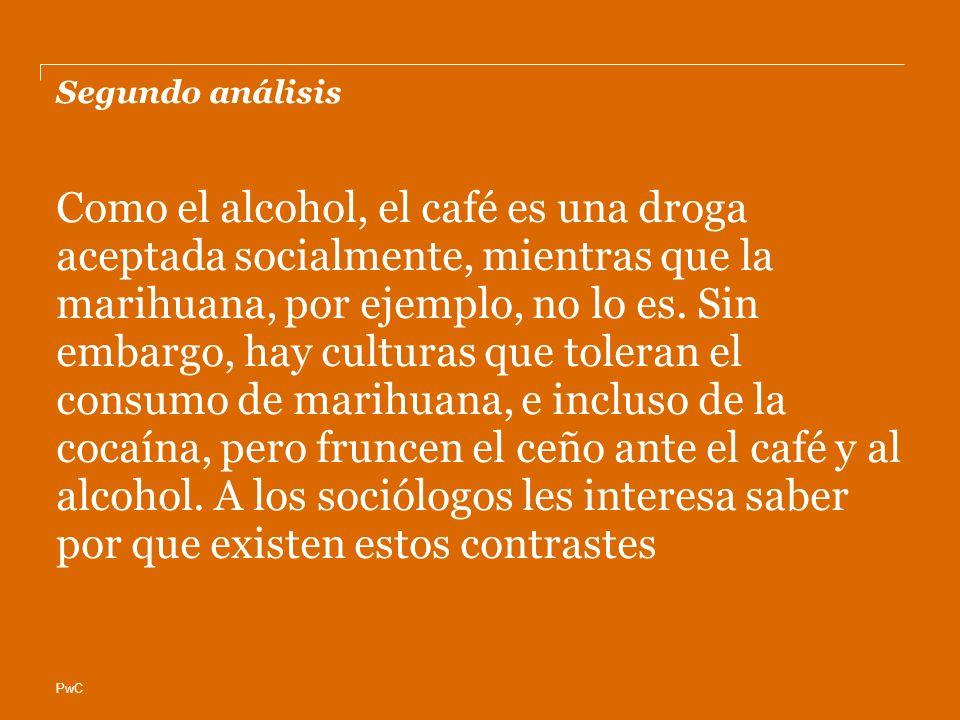 PwC Segundo análisis Como el alcohol, el café es una droga aceptada socialmente, mientras que la marihuana, por ejemplo, no lo es. Sin embargo, hay cu