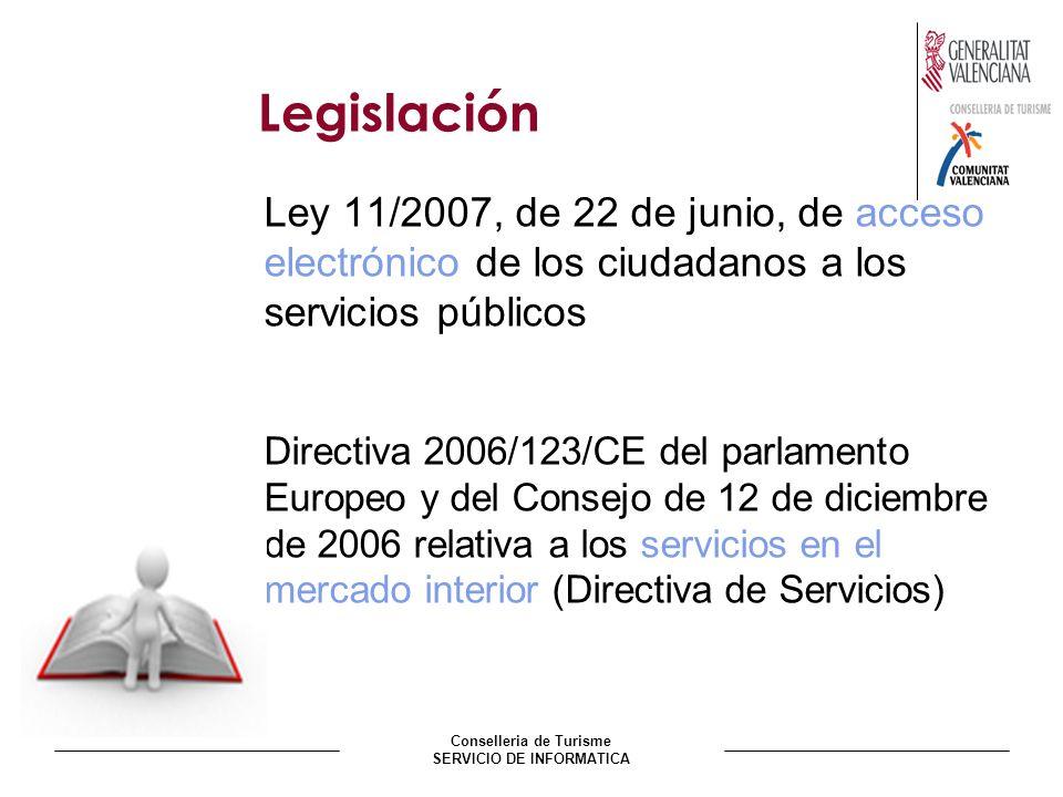 Conselleria de Turisme SERVICIO DE INFORMATICA Legislación Ley 11/2007, de 22 de junio, de acceso electrónico de los ciudadanos a los servicios públic