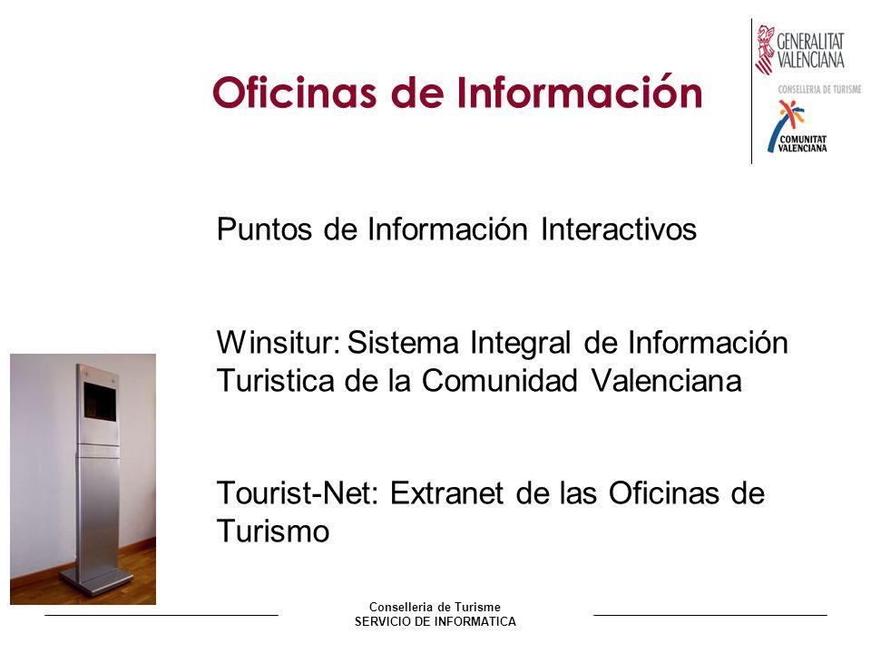 Conselleria de Turisme SERVICIO DE INFORMATICA Oficinas de Información Puntos de Información Interactivos Winsitur: Sistema Integral de Información Turistica de la Comunidad Valenciana Tourist-Net: Extranet de las Oficinas de Turismo
