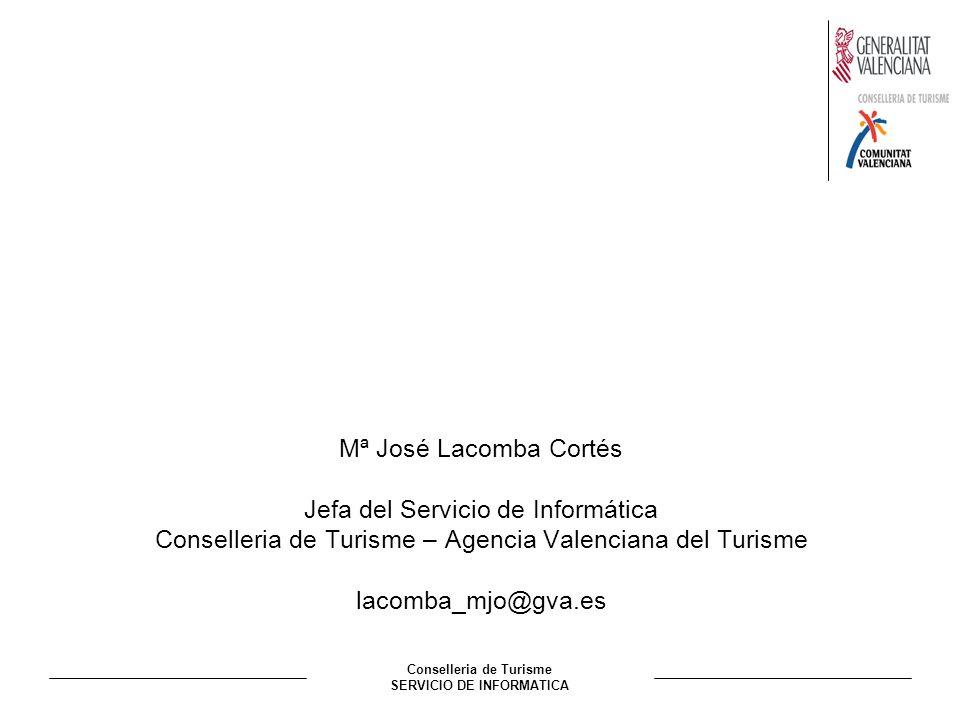 Conselleria de Turisme SERVICIO DE INFORMATICA Mª José Lacomba Cortés Jefa del Servicio de Informática Conselleria de Turisme – Agencia Valenciana del