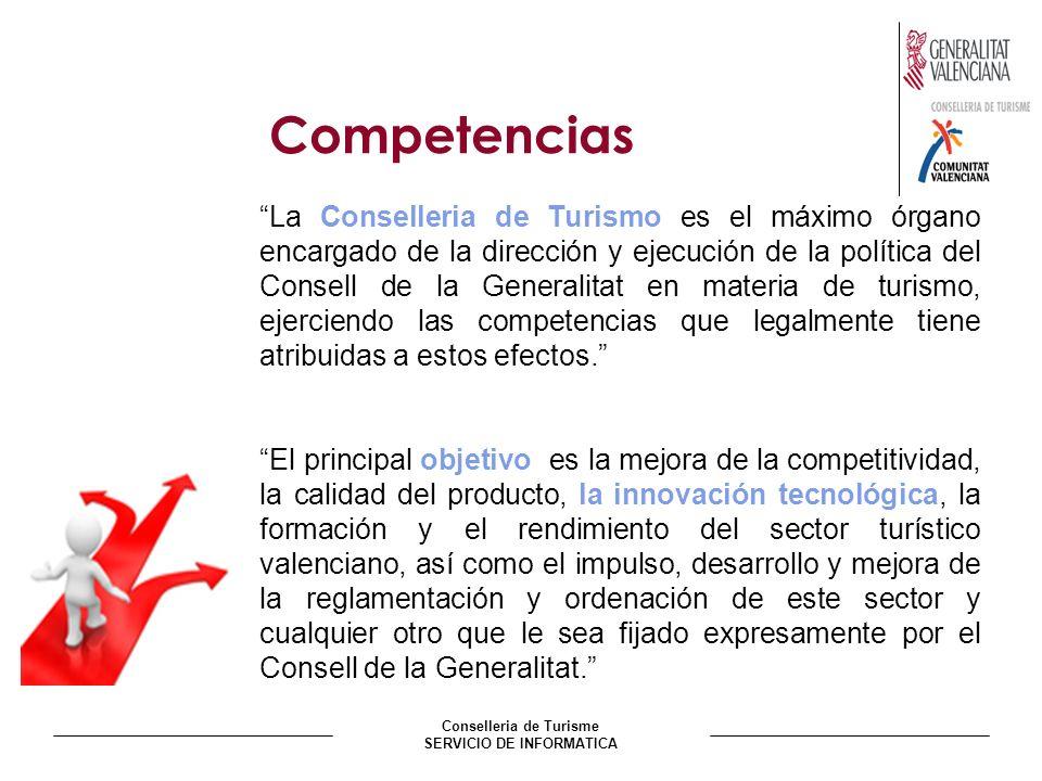 Conselleria de Turisme SERVICIO DE INFORMATICA Competencias La Conselleria de Turismo es el máximo órgano encargado de la dirección y ejecución de la