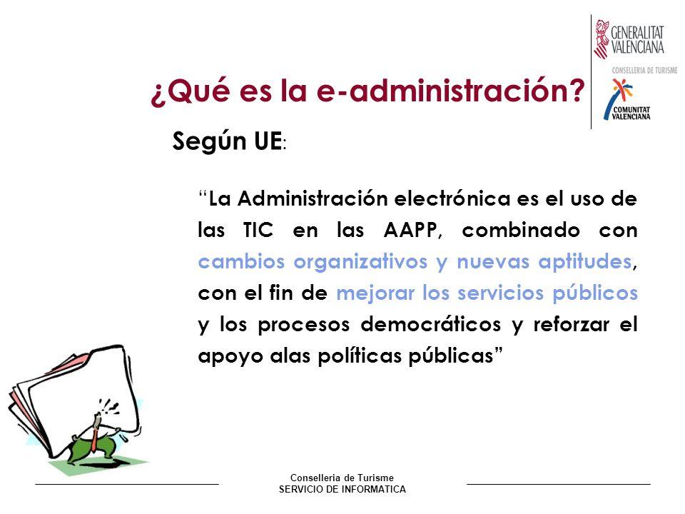 Conselleria de Turisme SERVICIO DE INFORMATICA ¿Qué es la e-administración? Según UE : La Administración electrónica es el uso de las TIC en las AAPP,