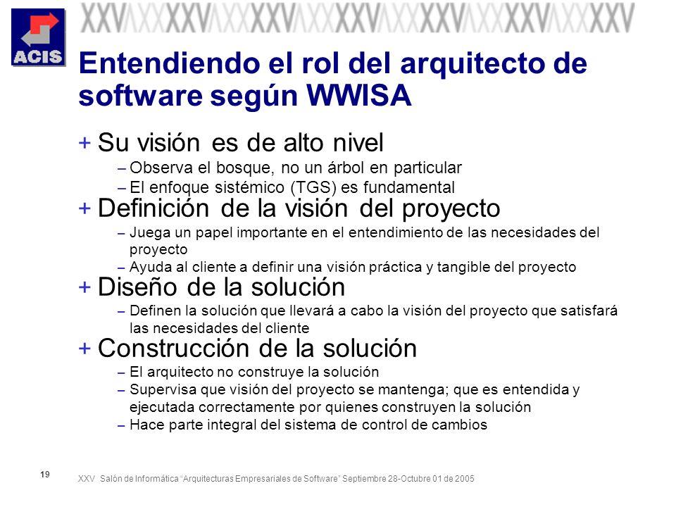 XXV Salón de Informática Arquitecturas Empresariales de Software Septiembre 28-Octubre 01 de 2005 19 Entendiendo el rol del arquitecto de software seg