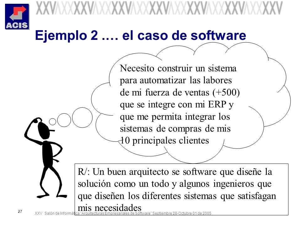 XXV Salón de Informática Arquitecturas Empresariales de Software Septiembre 28-Octubre 01 de 2005 27 Ejemplo 2.… el caso de software Necesito construi