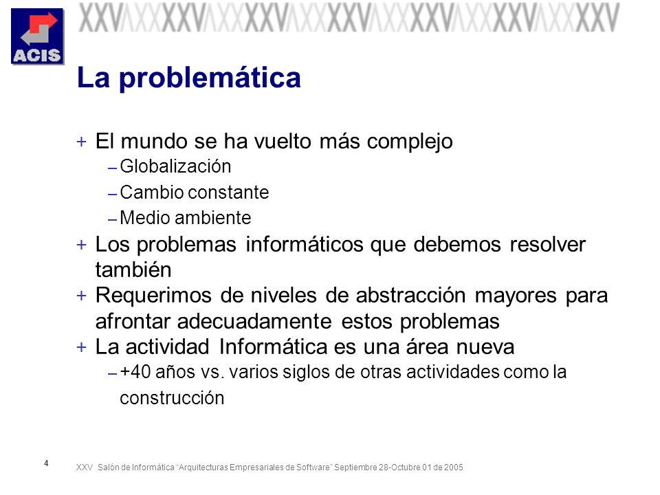 XXV Salón de Informática Arquitecturas Empresariales de Software Septiembre 28-Octubre 01 de 2005 25 Nota importante + Los programadores a los que se hace referencia en la diapositiva anterior, son muy escasos en el contexto colombiano – Son sólo programadores; no ingenieros – Están muy especializados en un lenguaje de programación – En la mayoría de los casos no tienen formación académica superior