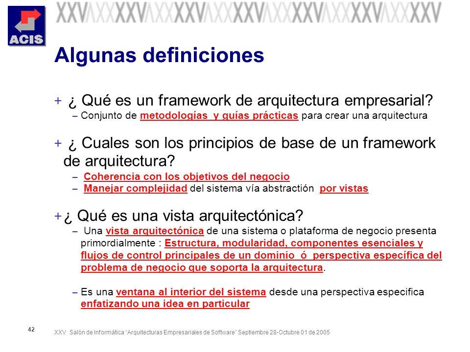 XXV Salón de Informática Arquitecturas Empresariales de Software Septiembre 28-Octubre 01 de 2005 42 Algunas definiciones + ¿ Qué es un framework de a
