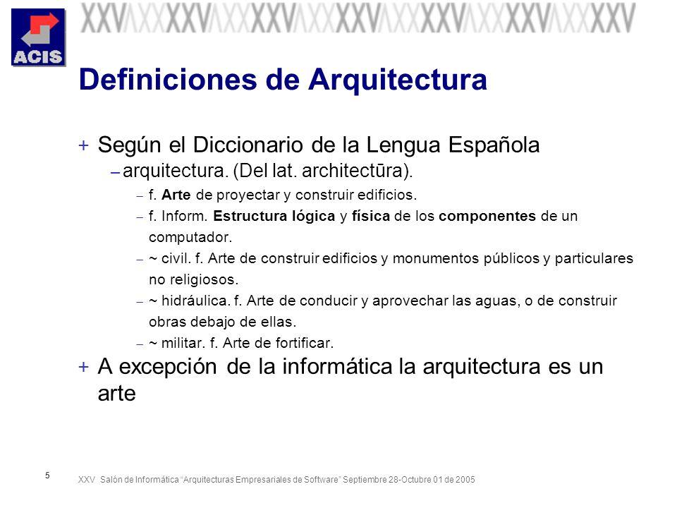 XXV Salón de Informática Arquitecturas Empresariales de Software Septiembre 28-Octubre 01 de 2005 5 Definiciones de Arquitectura + Según el Diccionari