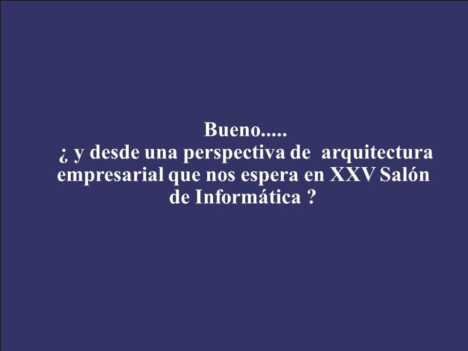 XXV Salón de Informática Arquitecturas Empresariales de Software Septiembre 28-Octubre 01 de 2005 58 Bueno..... ¿ y desde una perspectiva de arquitect
