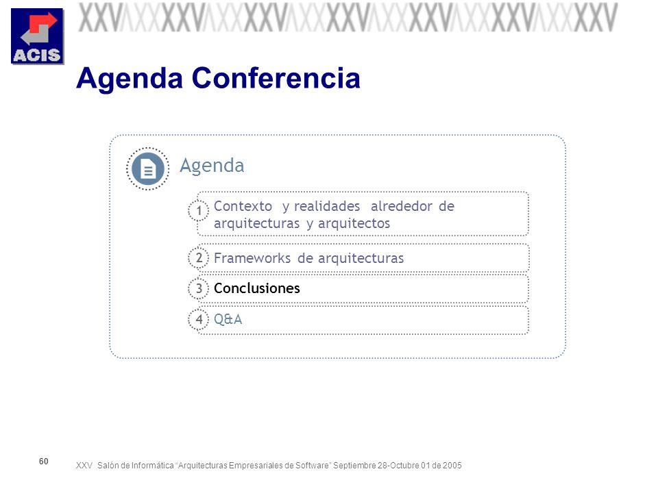 XXV Salón de Informática Arquitecturas Empresariales de Software Septiembre 28-Octubre 01 de 2005 60 Agenda Conferencia Contexto y realidades alrededo