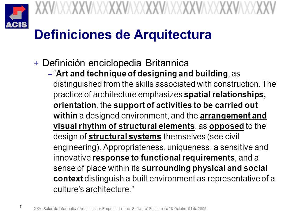 XXV Salón de Informática Arquitecturas Empresariales de Software Septiembre 28-Octubre 01 de 2005 18 El rol del arquitecto de software + Según el World Wide Institute of Software Architectures (WWISA) – Architects design structures to meet human needs.