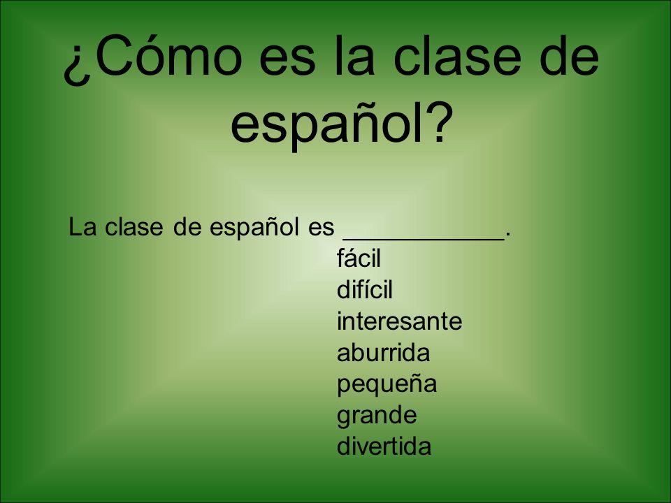¿Cómo es la clase de español.La clase de español es ___________.