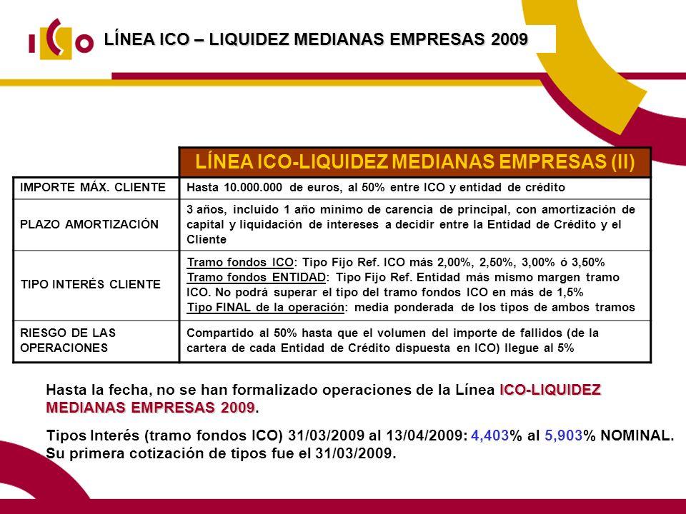 LÍNEA ICO – LIQUIDEZ MEDIANAS EMPRESAS 2009 LÍNEA ICO-LIQUIDEZ MEDIANAS EMPRESAS (II) IMPORTE MÁX.