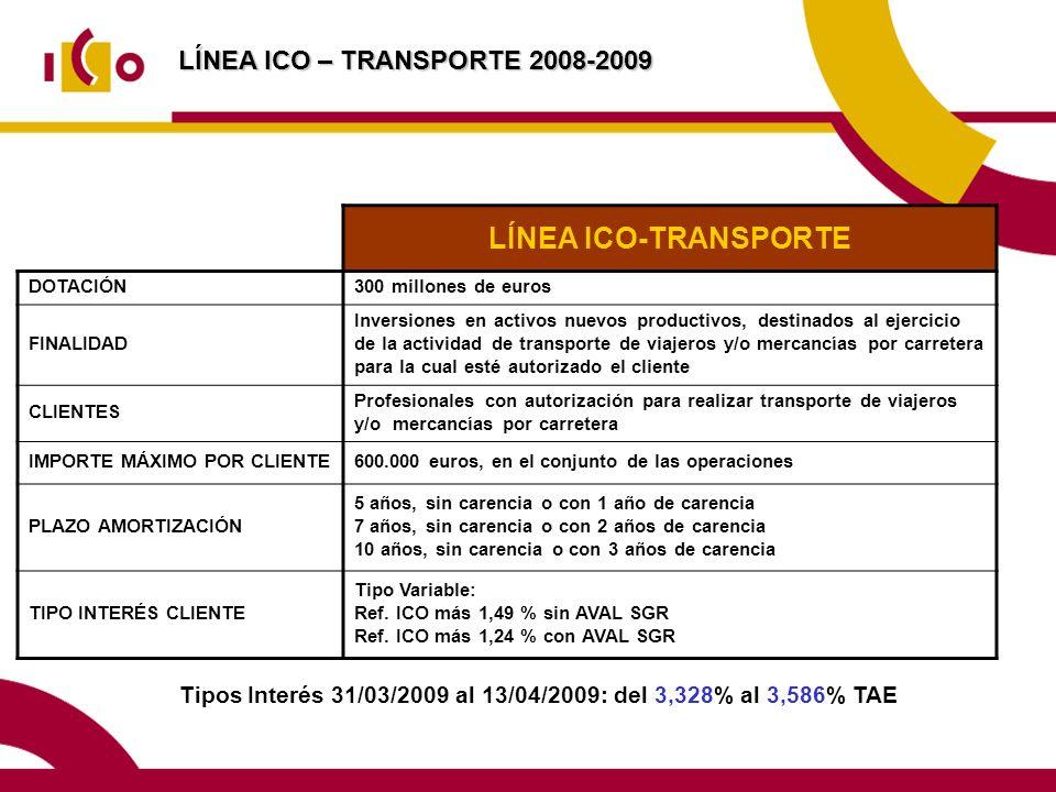 LÍNEA ICO – TRANSPORTE 2008-2009 Tipos Interés 31/03/2009 al 13/04/2009: del 3,328% al 3,586% TAE LÍNEA ICO-TRANSPORTE DOTACIÓN300 millones de euros FINALIDAD Inversiones en activos nuevos productivos, destinados al ejercicio de la actividad de transporte de viajeros y/o mercancías por carretera para la cual esté autorizado el cliente CLIENTES Profesionales con autorización para realizar transporte de viajeros y/o mercancías por carretera IMPORTE MÁXIMO POR CLIENTE600.000 euros, en el conjunto de las operaciones PLAZO AMORTIZACIÓN 5 años, sin carencia o con 1 año de carencia 7 años, sin carencia o con 2 años de carencia 10 años, sin carencia o con 3 años de carencia TIPO INTERÉS CLIENTE Tipo Variable: Ref.
