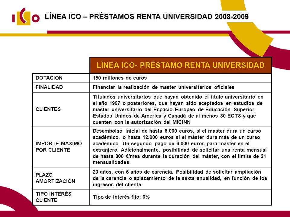 LÍNEA ICO – PRÉSTAMOS RENTA UNIVERSIDAD 2008-2009 LÍNEA ICO- PRÉSTAMO RENTA UNIVERSIDAD DOTACIÓN150 millones de euros FINALIDADFinanciar la realización de master universitarios oficiales CLIENTES Titulados universitarios que hayan obtenido el título universitario en el año 1997 o posteriores, que hayan sido aceptados en estudios de máster universitario del Espacio Europeo de Educación Superior, Estados Unidos de América y Canadá de al menos 30 ECTS y que cuenten con la autorización del MICINN IMPORTE MÁXIMO POR CLIENTE Desembolso inicial de hasta 6.000 euros, si el master dura un curso académico, o hasta 12.000 euros si el máster dura más de un curso académico.