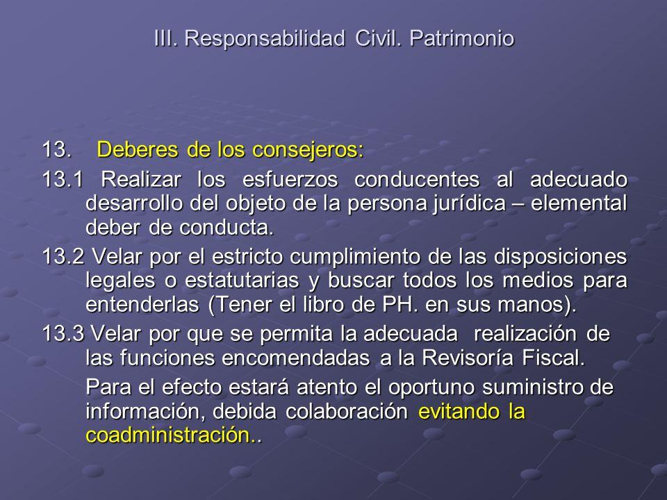 III. Responsabilidad Civil. Patrimonio 13. Deberes de los consejeros: 13.1 Realizar los esfuerzos conducentes al adecuado desarrollo del objeto de la