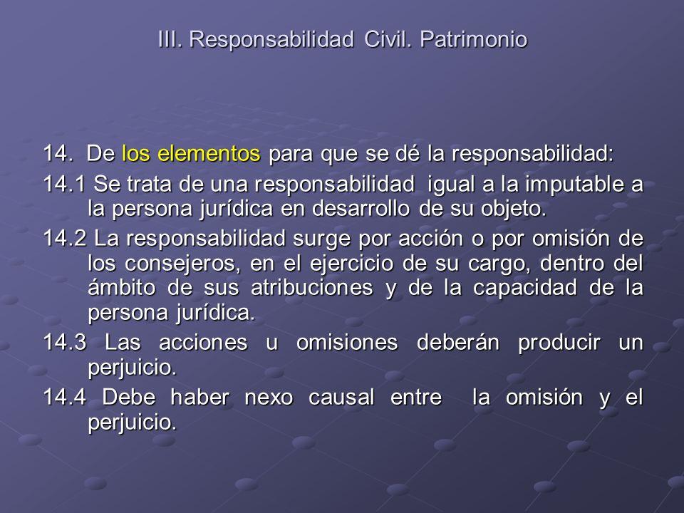 III. Responsabilidad Civil. Patrimonio 14. De los elementos para que se dé la responsabilidad: 14.1 Se trata de una responsabilidad igual a la imputab