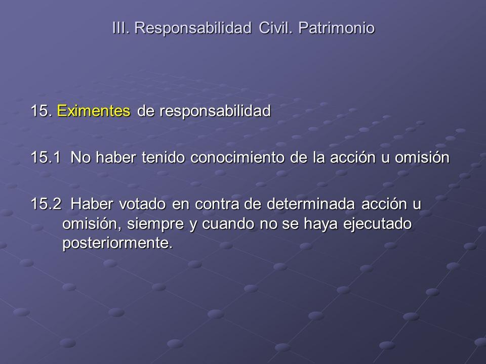 III. Responsabilidad Civil. Patrimonio 15. Eximentes de responsabilidad 15.1 No haber tenido conocimiento de la acción u omisión 15.2 Haber votado en