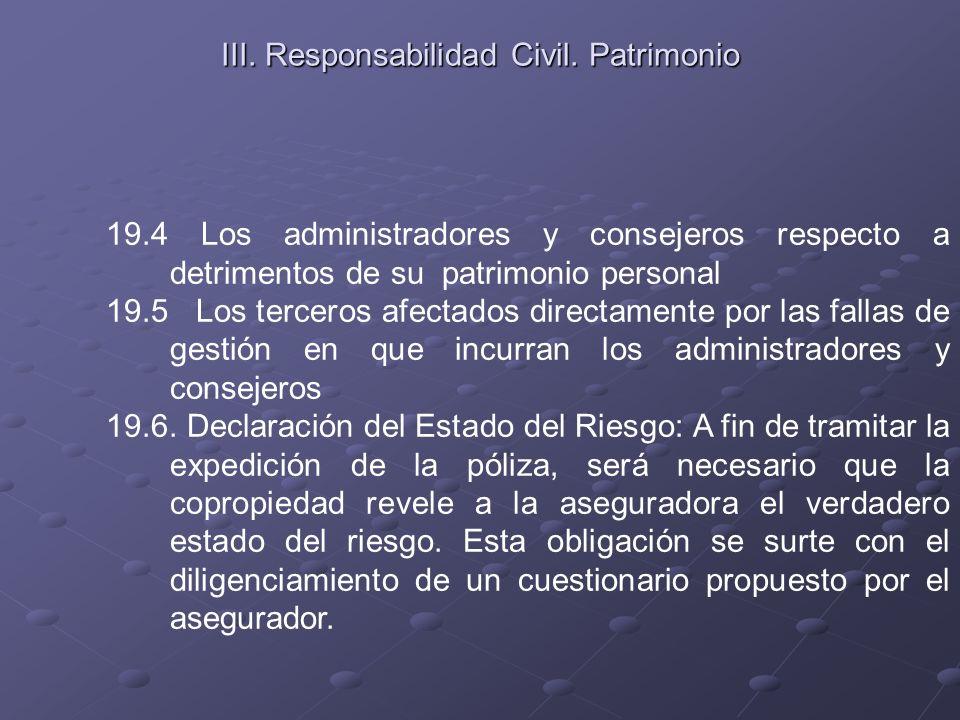 III. Responsabilidad Civil. Patrimonio 19.4 Los administradores y consejeros respecto a detrimentos de su patrimonio personal 19.5 Los terceros afecta