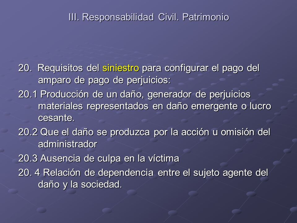 III. Responsabilidad Civil. Patrimonio 20. Requisitos del siniestro para configurar el pago del amparo de pago de perjuicios: 20.1 Producción de un da