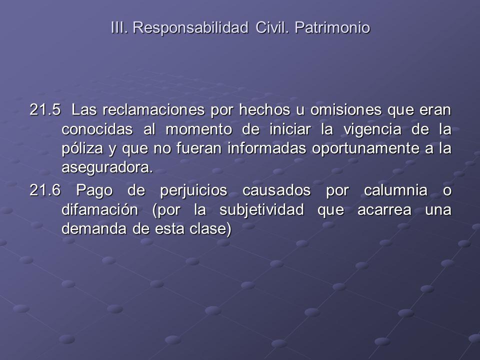 III. Responsabilidad Civil. Patrimonio 21.5 Las reclamaciones por hechos u omisiones que eran conocidas al momento de iniciar la vigencia de la póliza