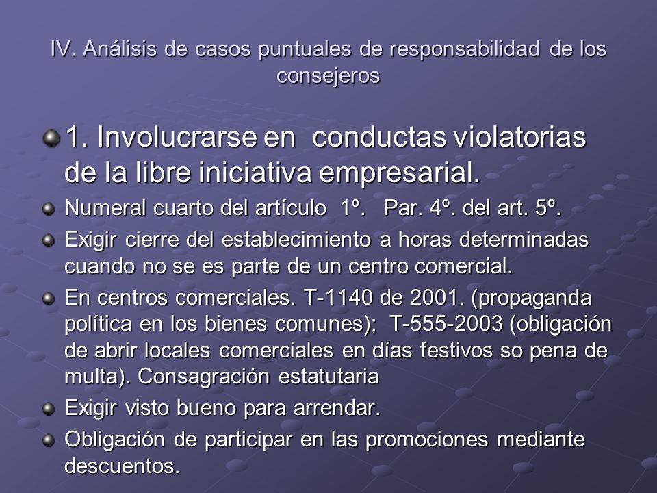 IV. Análisis de casos puntuales de responsabilidad de los consejeros 1. Involucrarse en conductas violatorias de la libre iniciativa empresarial. Nume