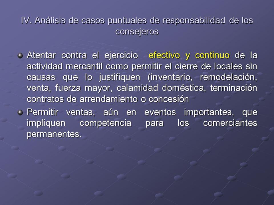 IV. Análisis de casos puntuales de responsabilidad de los consejeros Atentar contra el ejercicio efectivo y continuo de la actividad mercantil como pe