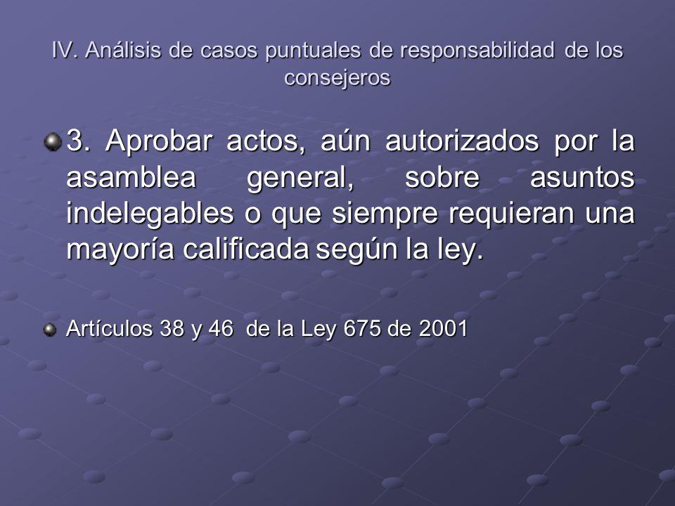 IV. Análisis de casos puntuales de responsabilidad de los consejeros 3. Aprobar actos, aún autorizados por la asamblea general, sobre asuntos indelega