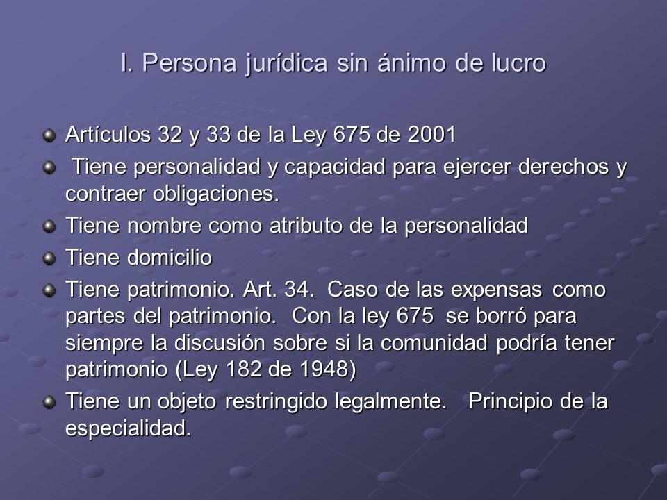 I. Persona jurídica sin ánimo de lucro Artículos 32 y 33 de la Ley 675 de 2001 Tiene personalidad y capacidad para ejercer derechos y contraer obligac