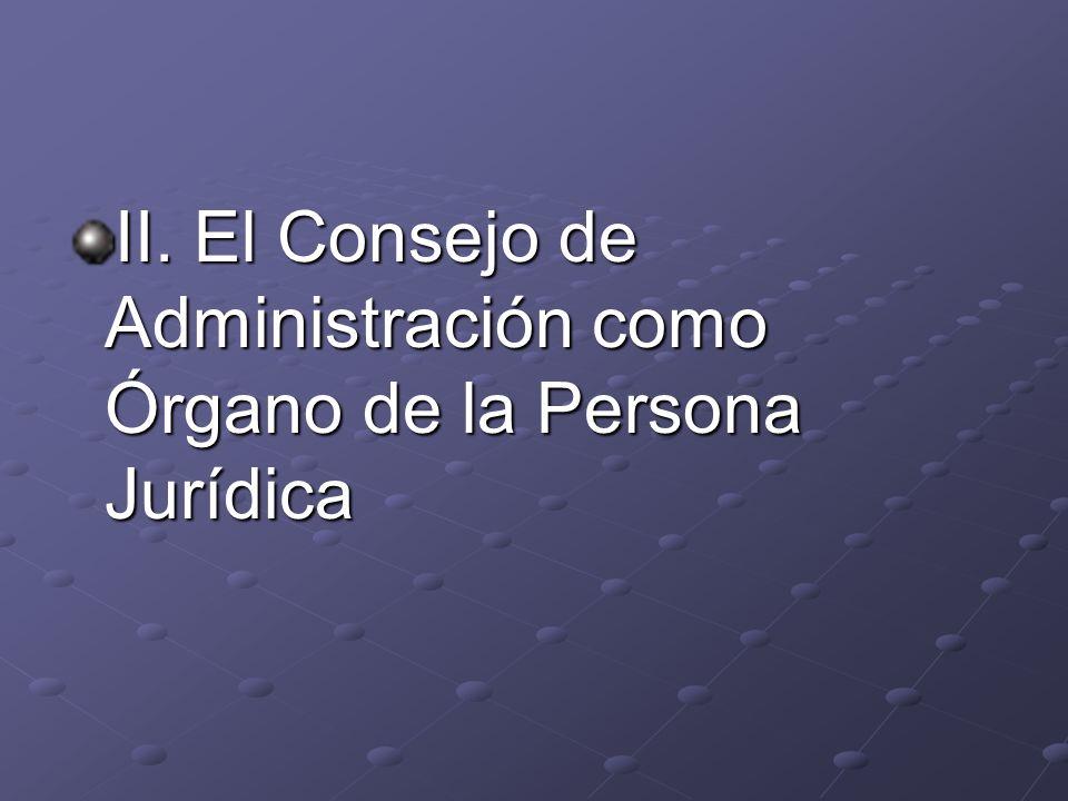 II. El Consejo de Administración como Órgano de la Persona Jurídica