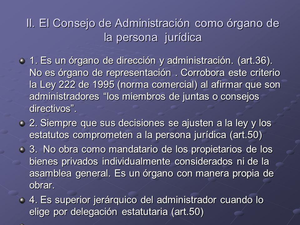 II. El Consejo de Administración como órgano de la persona jurídica 1. Es un órgano de dirección y administración. (art.36). No es órgano de represent
