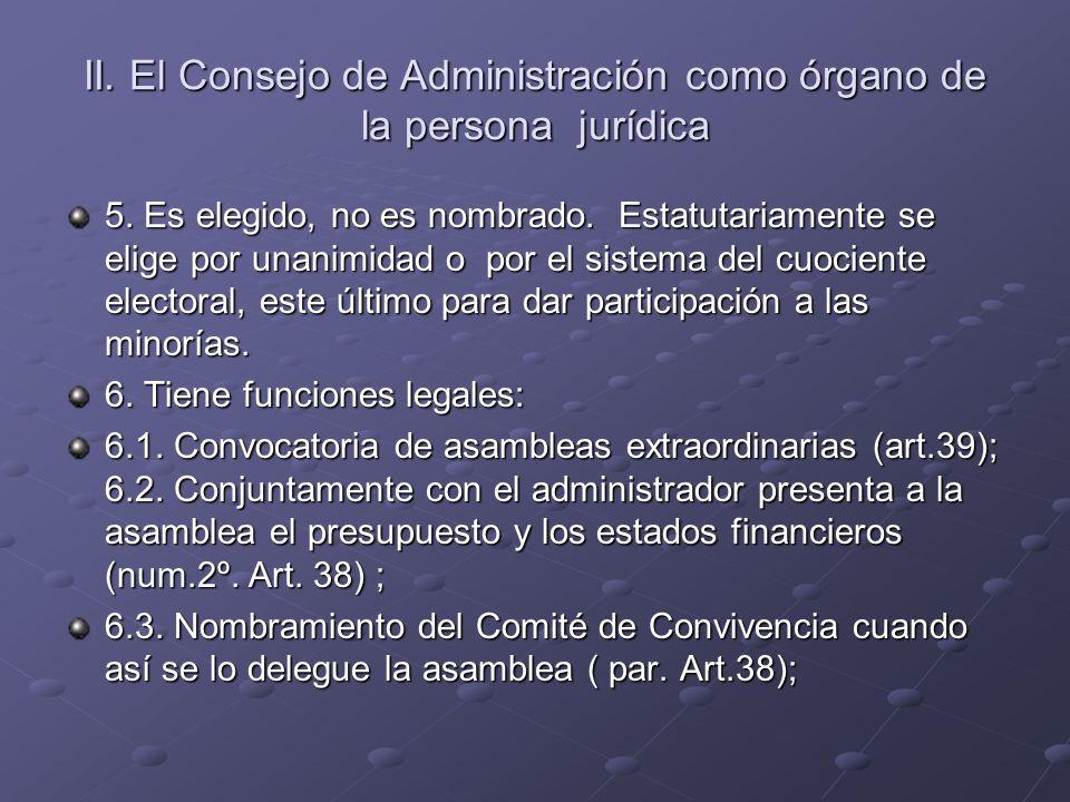 II. El Consejo de Administración como órgano de la persona jurídica 5. Es elegido, no es nombrado. Estatutariamente se elige por unanimidad o por el s