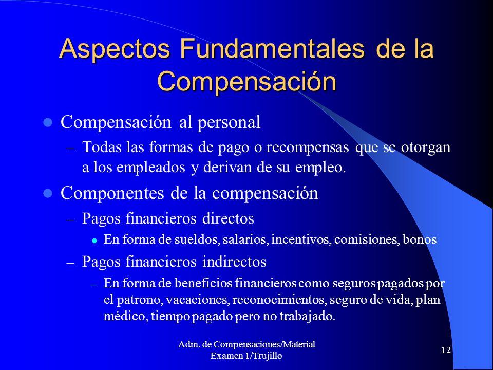 Adm. de Compensaciones/Material Examen 1/Trujillo 12 Aspectos Fundamentales de la Compensación Compensación al personal – Todas las formas de pago o r